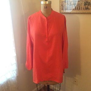 Eileen Fisher poppy red linen shirt sz M